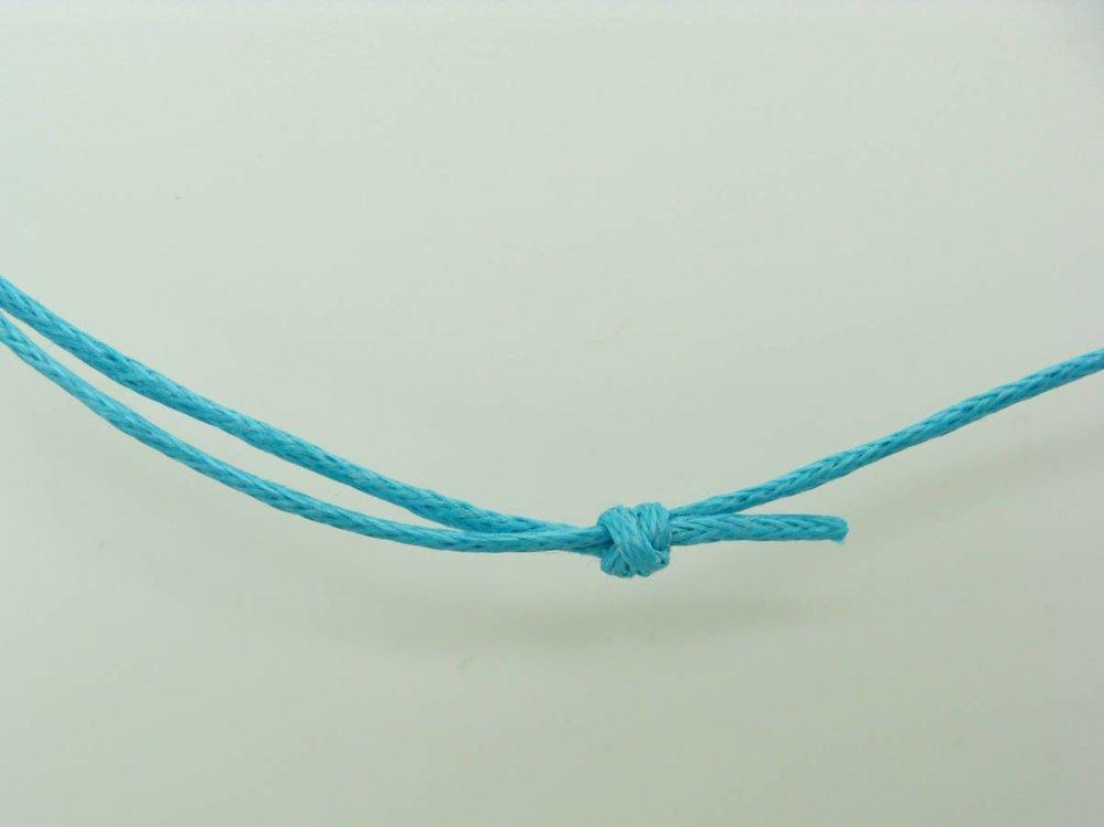 5 colliers bleus fil cordon coton ciré 1mm taille réglable par noeuds coulissants Création Bijoux