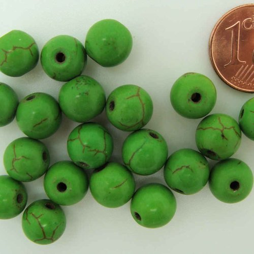 20 PERLES Jaune rondes 8mm marbré PIERRE turquoise synthétique DIY bijoux déco