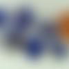 6 perles bleu foncé verre lampwork rondes 12mm touches dorées