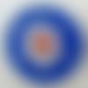 2 pendentifs ronds 30mm bleu foncé fleur verre façon millefiori