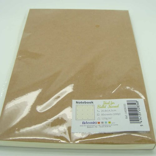 Carnet notebook bullet journal 80 feuilles 160 pages 20,8x14,3cm marron kraft artemio