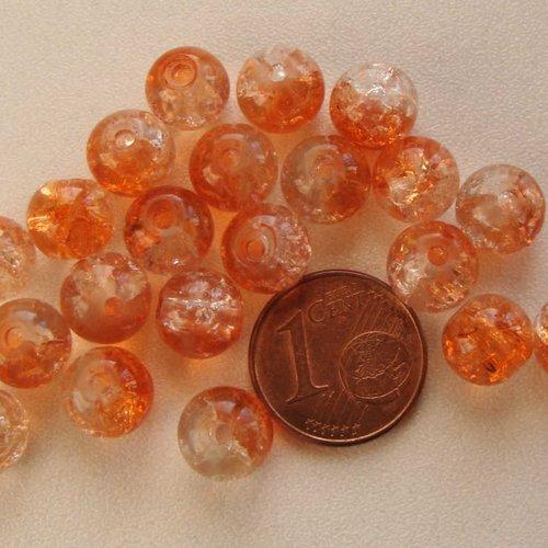 40 perles rondes 8mm verre craquele ROSE /& TRANSPARENT DIY création bijoux