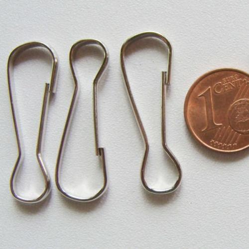 10 fermoirs mousquetons simples porte-clés 31mm métal argenté