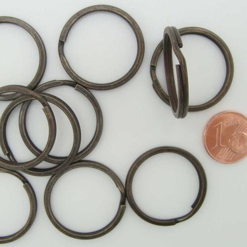 10 anneaux porte-cles métal couleur bronze 25mm