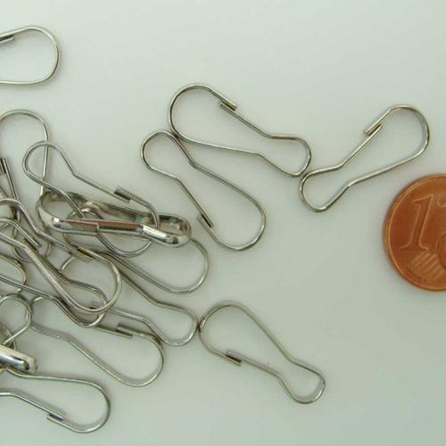 20 fermoirs mousquetons simples porte-clés 20mm métal argenté