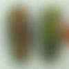 2 perles tubes ovales 35mm terre cuite striée peinte vert jaune rouge vintage
