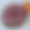 2 perles galets 25mm violet clair rond plat verre façon murano feuille argentée diy création bijoux