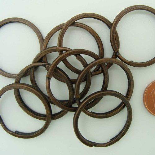 10 anneaux porte-cles métal couleur cuivre foncé 25mm