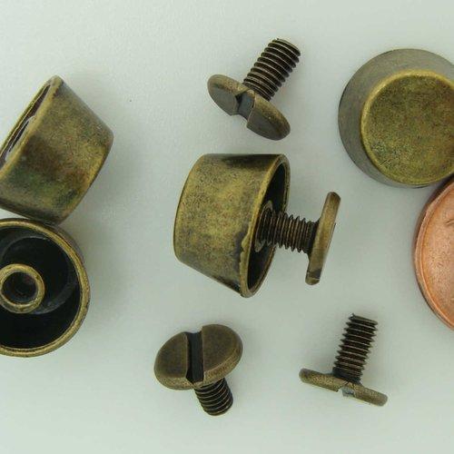 4 pieds métal couleur bronze à visser 12x7mm pour cartonnage boîte sac