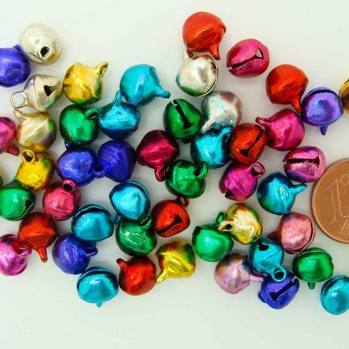 50 grelots clochettes 9mm métal mix couleurs noël fêtes