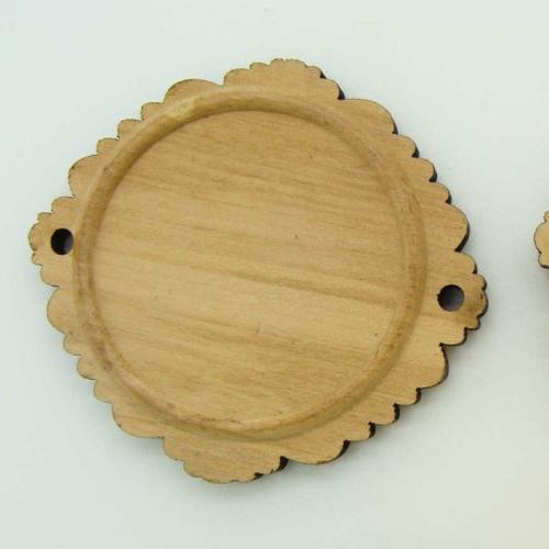 5 supports connecteurs cabochon rond 30mm base bois 45mm création bijoux déco