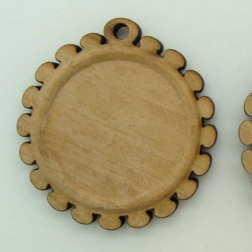 5 supports cabochon rond 25mm  base pendentif bois 39mm création bijoux déco