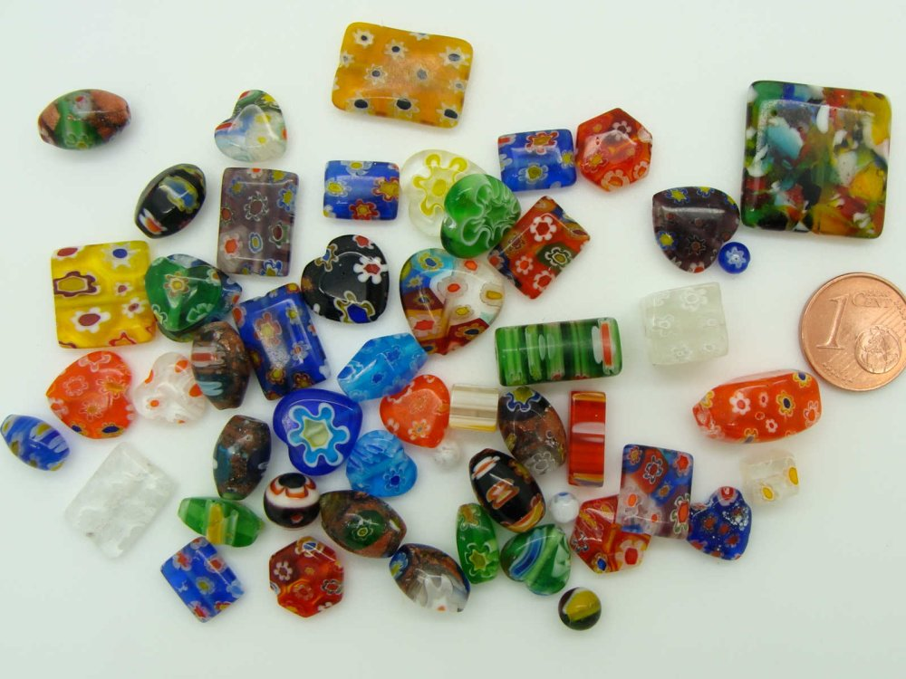 Lot 50 perles verre millefiori mix tailles formes et couleurs aléatoires création bijoux