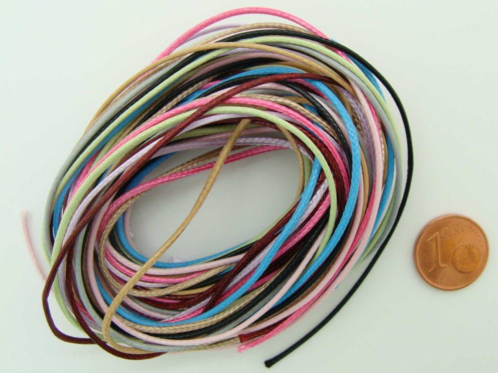 10 mètres fil Mix couleurs nylon polyester ciré 1mm cordon lacet création bijoux déco