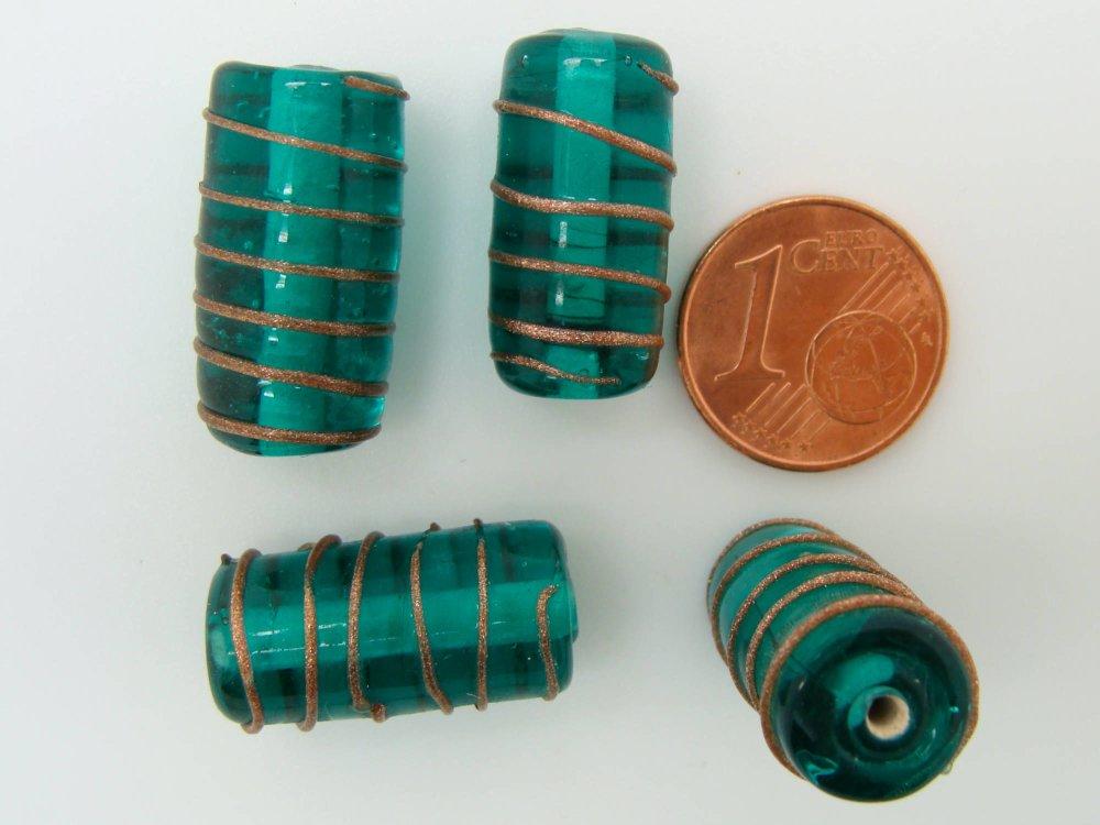 4 perles tubes 19mm Vert spirale dorée verre lampwork