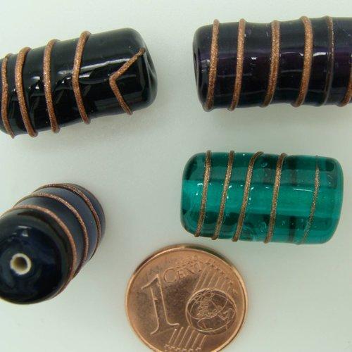 4 perles tubes 19mm mix couleurs spirale dorée verre lampwork