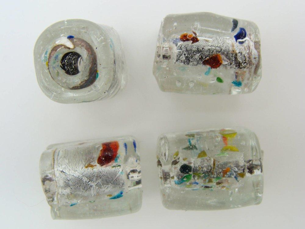 6 perles CARRE 12mm TRANSPARENT VERRE facon MURANO feuille argenté bijoux