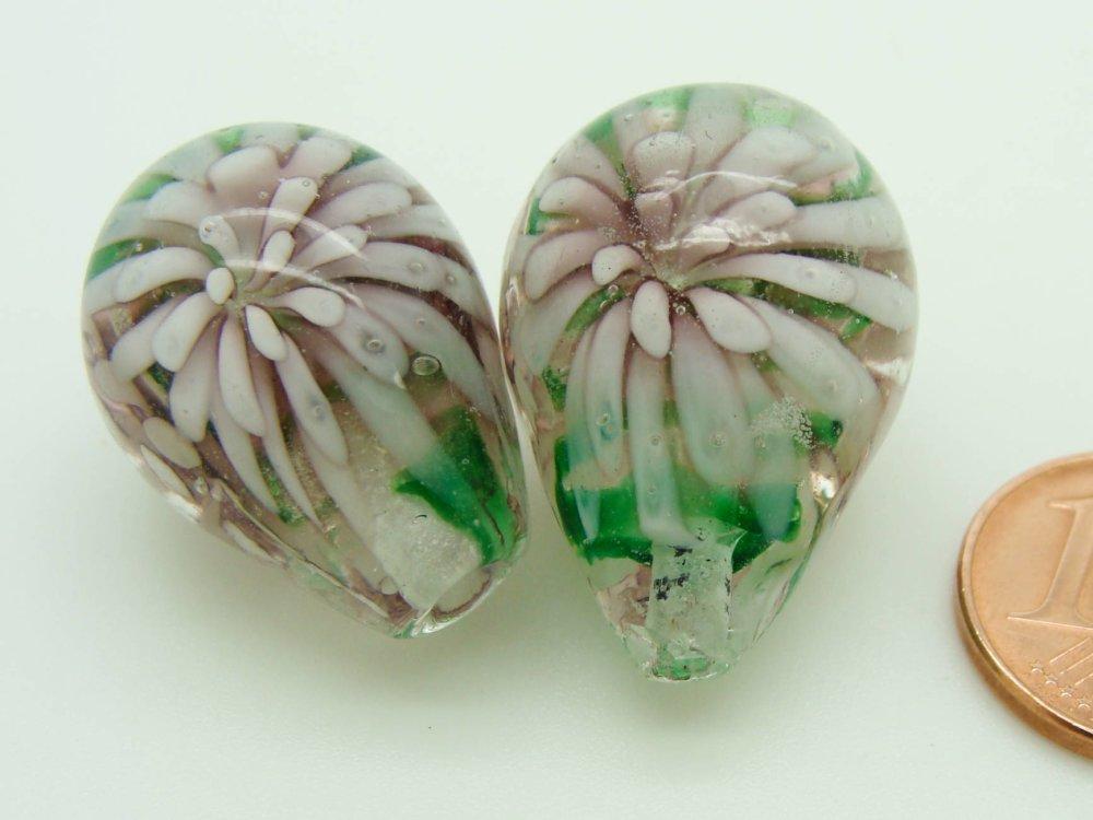 1 perle Motifs 2 FLEURS Goutte 23mm VERRE lampwork couleur au choix Bijoux
