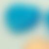 2 perles coeur 25mm bleu verre oeil de chat diy création bijoux
