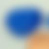 2 perles coeur 25mm bleu foncé verre oeil de chat diy création bijoux