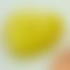 2 perles coeur 25mm jaune verre oeil de chat diy création bijoux