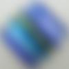 Pendentif losange bleu foncé rayés 38mm verre feuille argentée