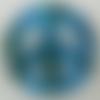 Pendentif peace and love bleu verre feuille argentée