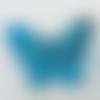 2 mini pendentifs papillon bleu vif feuille argentée 24mm animal en verre lampwork