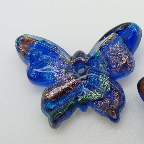 2 mini pendentifs papillon bleu foncé feuille argentée 24mm animal en verre lampwork