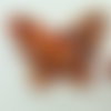 2 mini pendentifs papillon rouge feuille argentée 24mm animal en verre lampwork