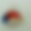 Pendentif poisson rouge et bleu feuille argentée rayures blanches 45mm en verre lampwork