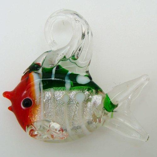Pendentif poisson vert et rouge feuille argentée rayures blanches 45mm en verre lampwork