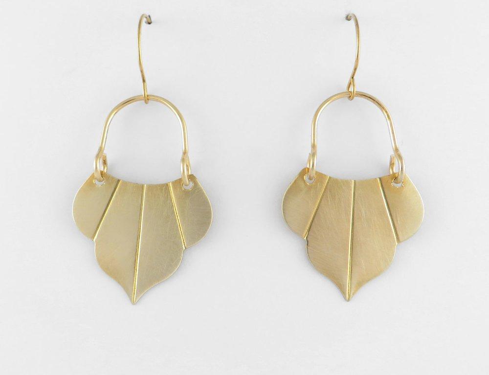 Boucles d'oreilles goutte Art Déco Vintage dorée en laiton brut