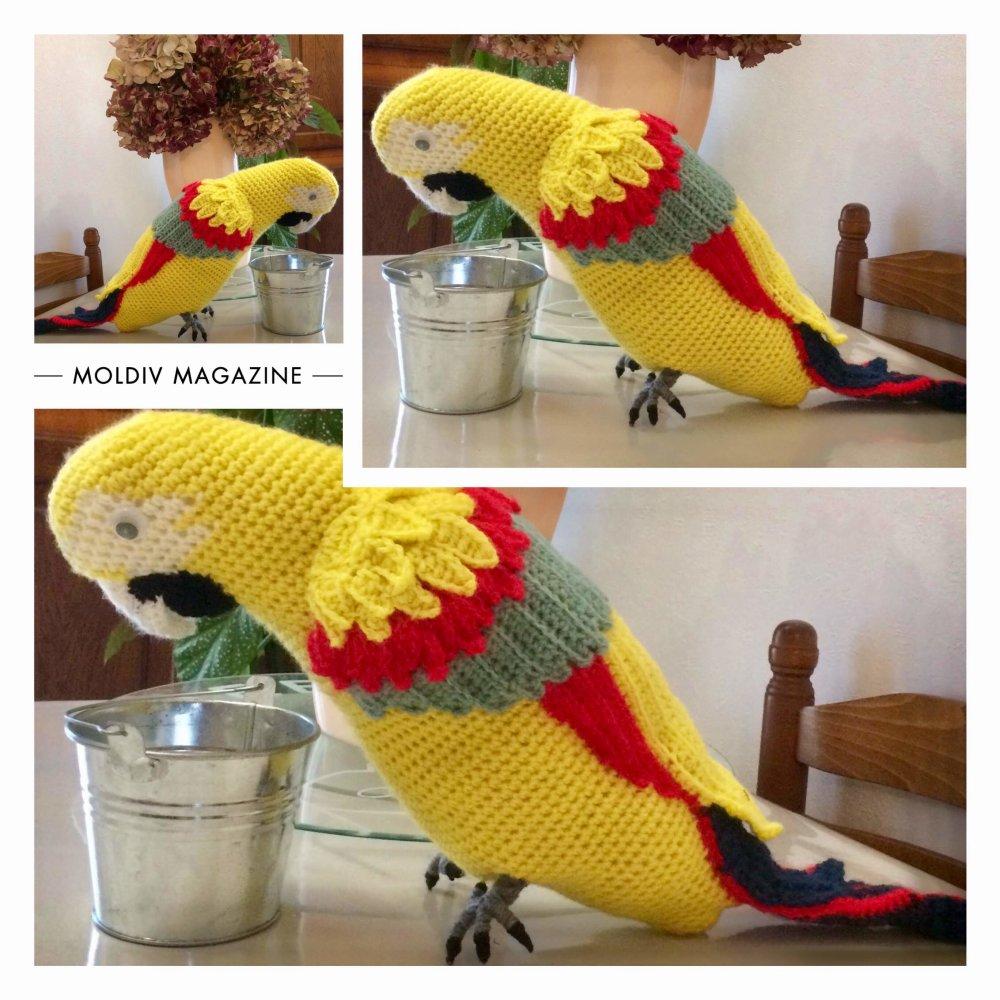 Amigurumi,modèle pirogue ARA au crochet,grande peluche