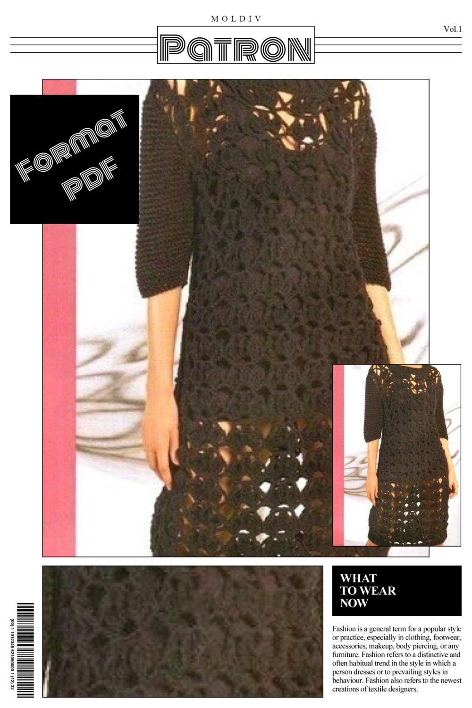 Modèle chic robe  dentelle au crochet pour femme
