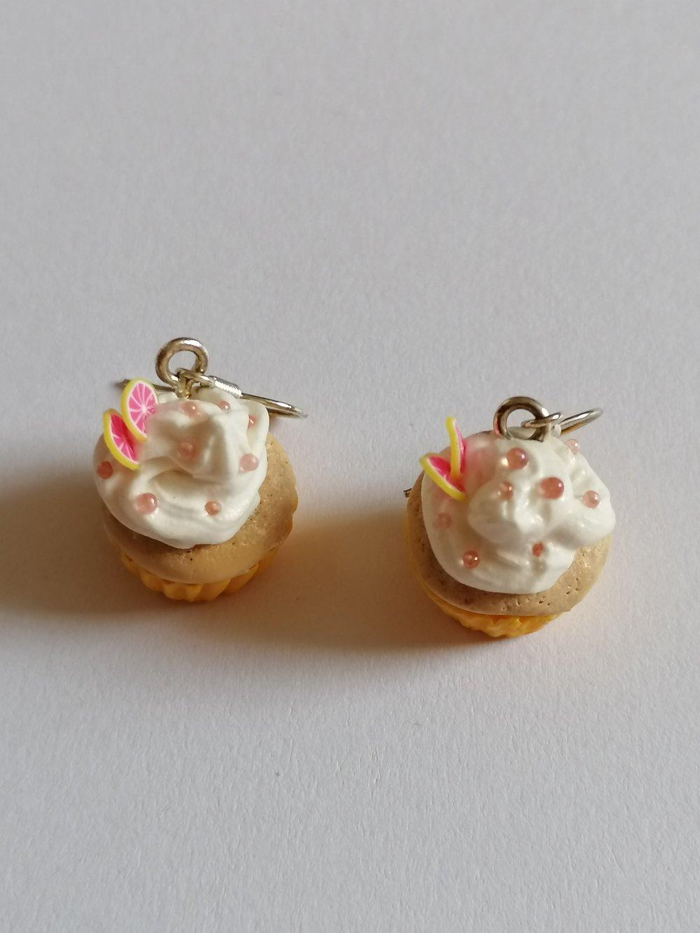 Boucle d'oreilles cupcakes pamplemousse en fimo