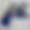 """Broche métal argenté  épingle de kilt  «une pierre en lapiz lazuli avec pompon"""""""