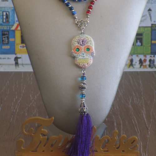 Collier sautoir pendentif en céramique avec perles de verre