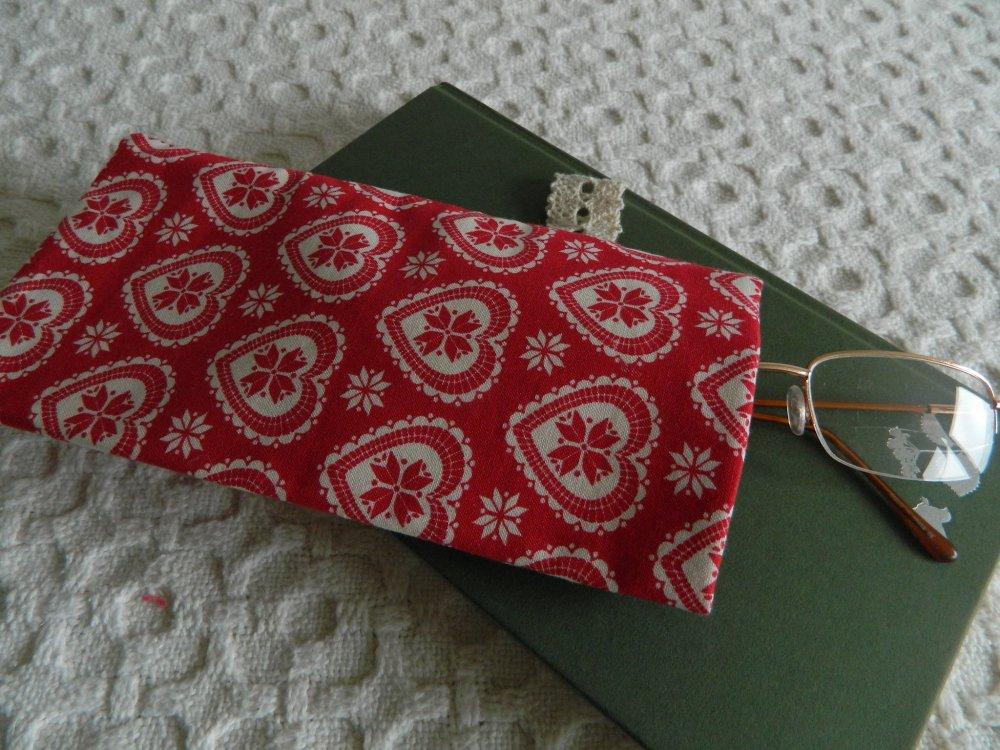 Etui à lunettes tissu coeurs - etui à lunettes tissu coton - doublure coton biologique - pochette 20cm x 10cm