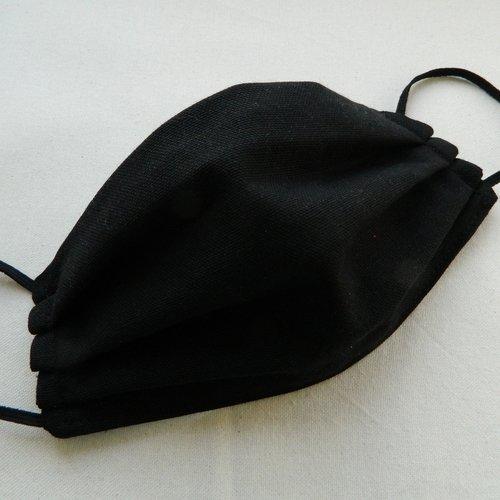 Masque visage lavable réutilisable réversible. 2 couches tissu 100% coton noir.  masque adulte. cordon élastique.