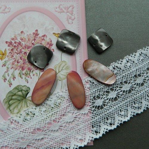 Lot de 6 perles nacre forme carré et oblongue rose et gris