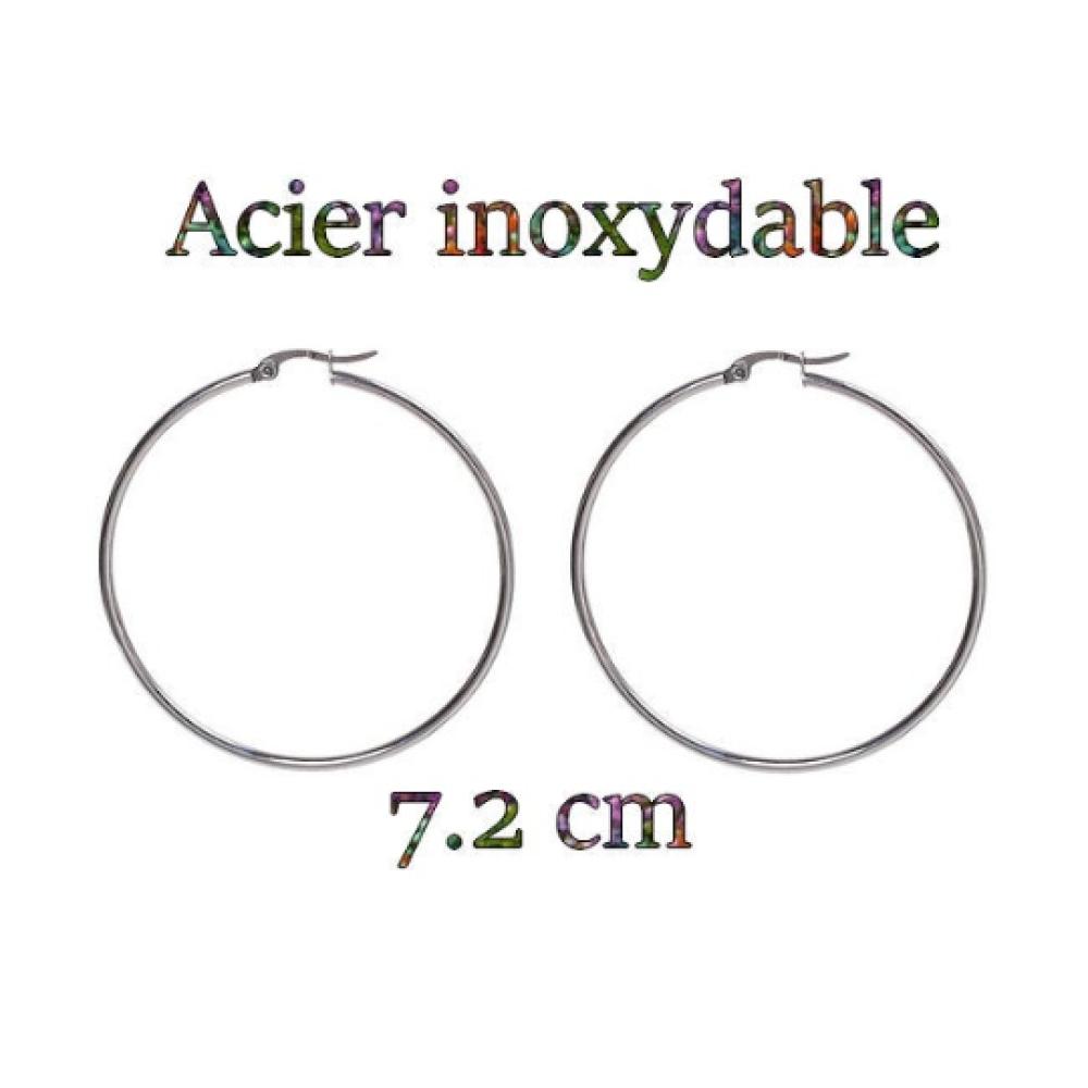 1 paire de grandes créoles en acier inoxydable 7.2 cm