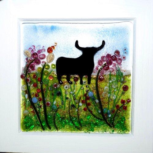 Tableau le taureau décoration murale en verre fusionné par créateur verrier