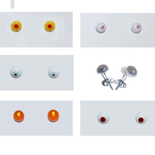 Boucles d'oreilles puces couleur au choix blanc orange jaune bleu rouge bijou pour fille enfant