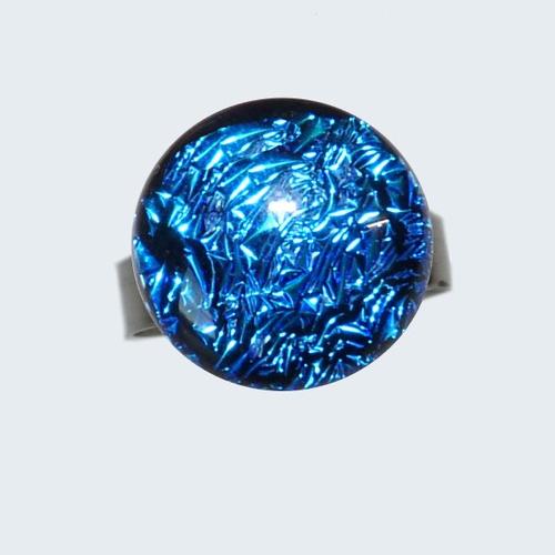 Bague d'un bleu éclatant en verre bijou femme unique fait main