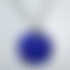 Collier bleu petit pendentif lumineux bijou créateur unique