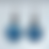 Boucles d'oreilles pendantes bleu marine bijou artisanal en verre