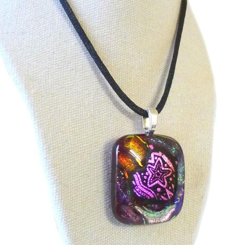 Collier cœur multicolore qui brille création bijou saint valentin