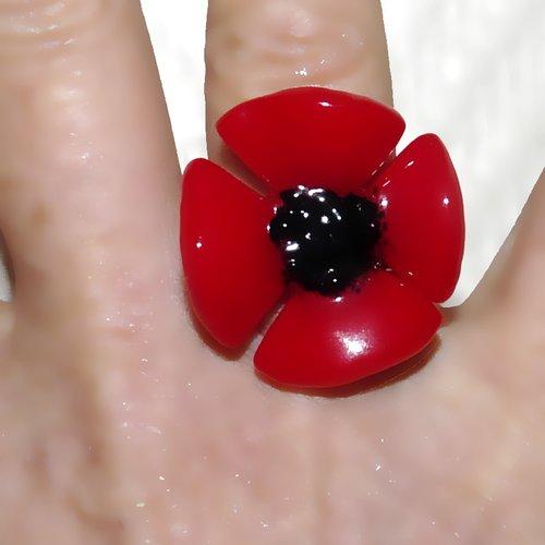 Bague coquelicot fleur rouge en verre et acier inoxydable