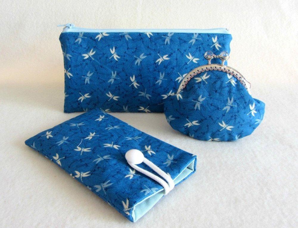 Etui téléphone portable libellule bleu